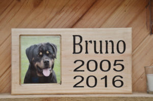 Light Wood Dog Frame with Name and Dates