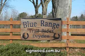 blue range wood sign