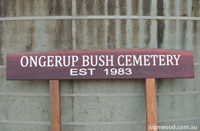 ongerup bush cemetery wood sign
