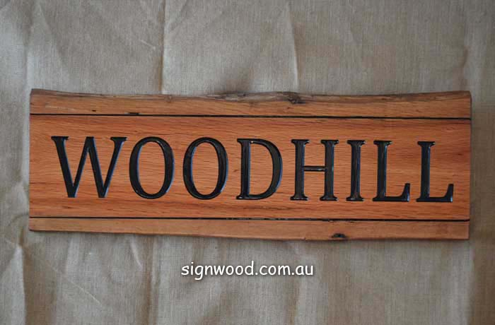 woodhill wood sign