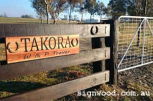Takora Stables & Owner Wooden Fence Sign